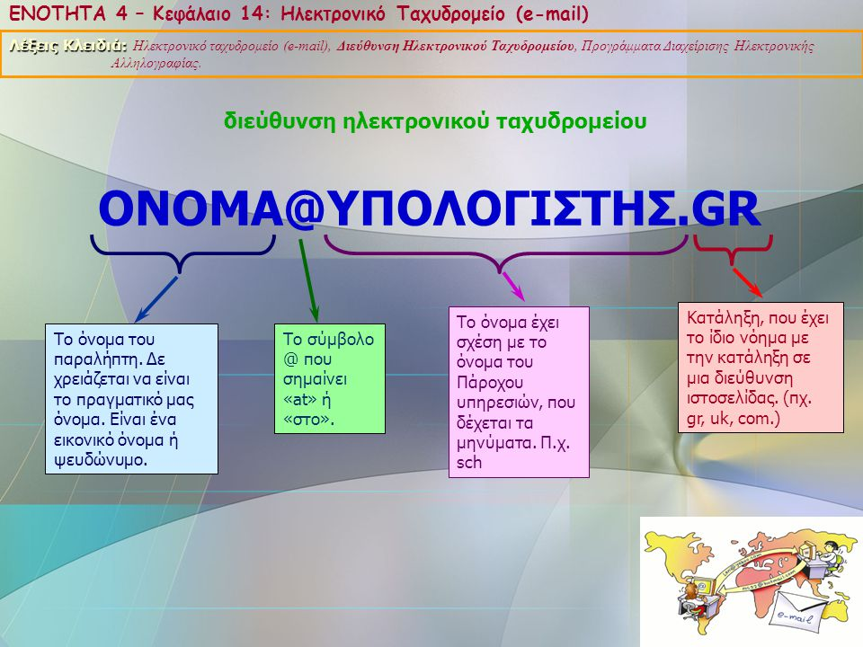 ONOMA@ΥΠΟΛΟΓΙΣΤΗΣ.GR διεύθυνση ηλεκτρονικού ταχυδρομείου