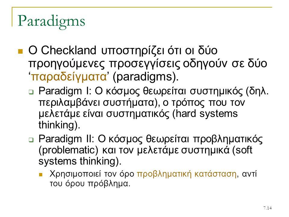 Paradigms Ο Checkland υποστηρίζει ότι οι δύο προηγούμενες προσεγγίσεις οδηγούν σε δύο 'παραδείγματα' (paradigms).