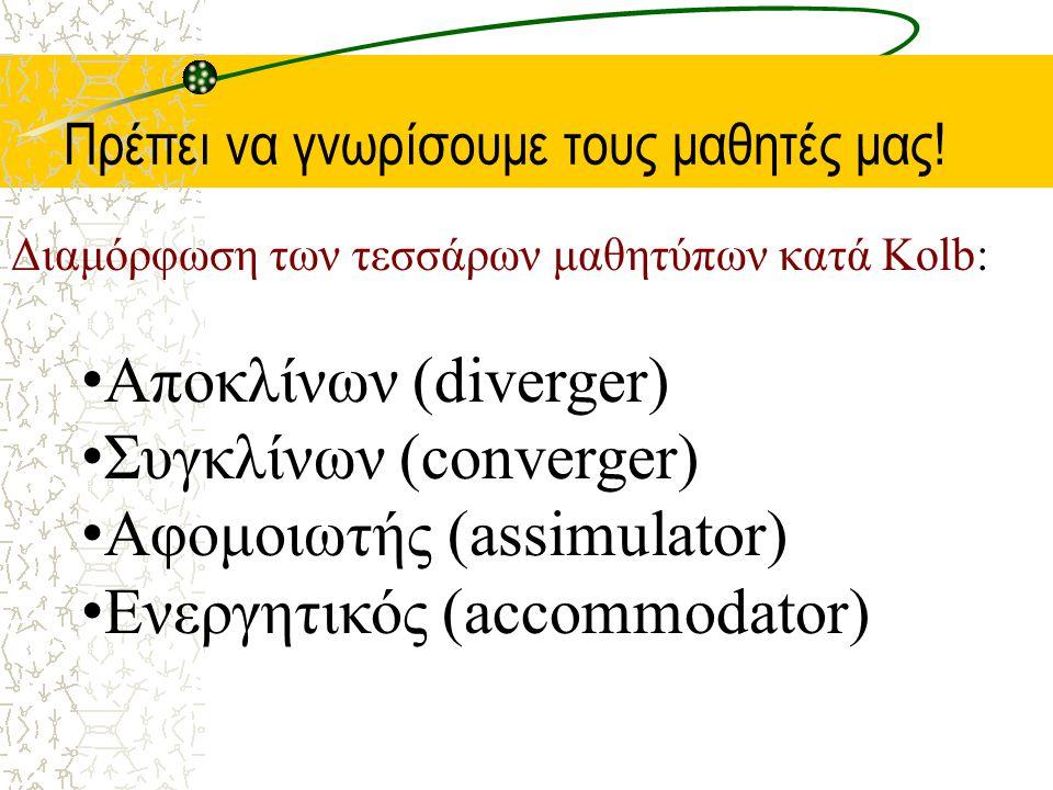 Συγκλίνων (converger) Αφομοιωτής (assimulator)