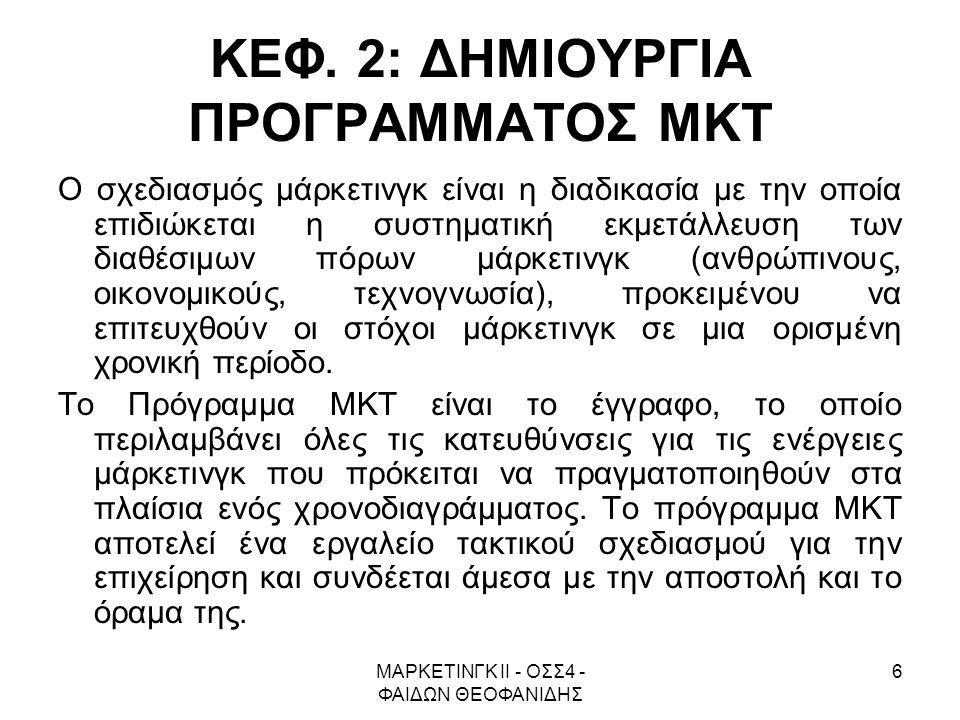 ΚΕΦ. 2: ΔΗΜΙΟΥΡΓΙΑ ΠΡΟΓΡΑΜΜΑΤΟΣ ΜΚΤ