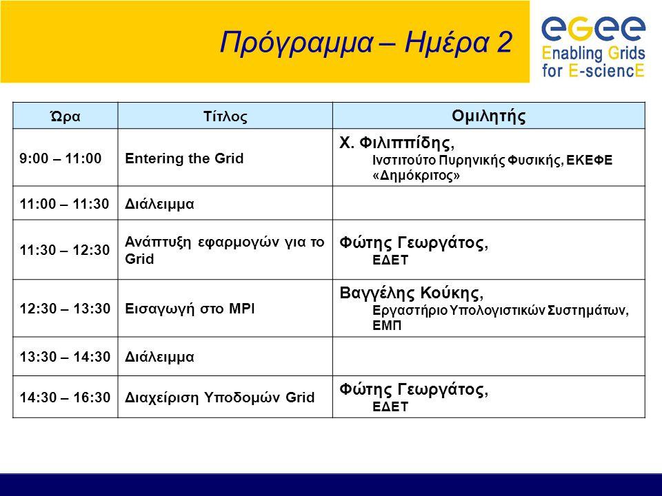 Πρόγραμμα – Ημέρα 2 Ομιλητής Χ. Φιλιππίδης, Φώτης Γεωργάτος,