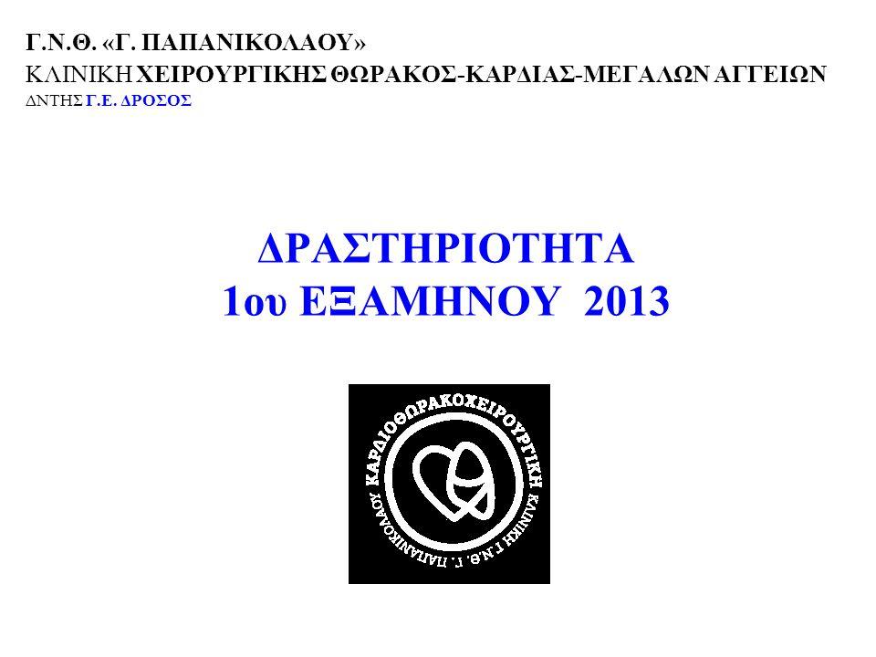 ΔΡΑΣΤΗΡΙΟΤΗΤΑ 1ου ΕΞΑΜΗΝΟΥ 2013