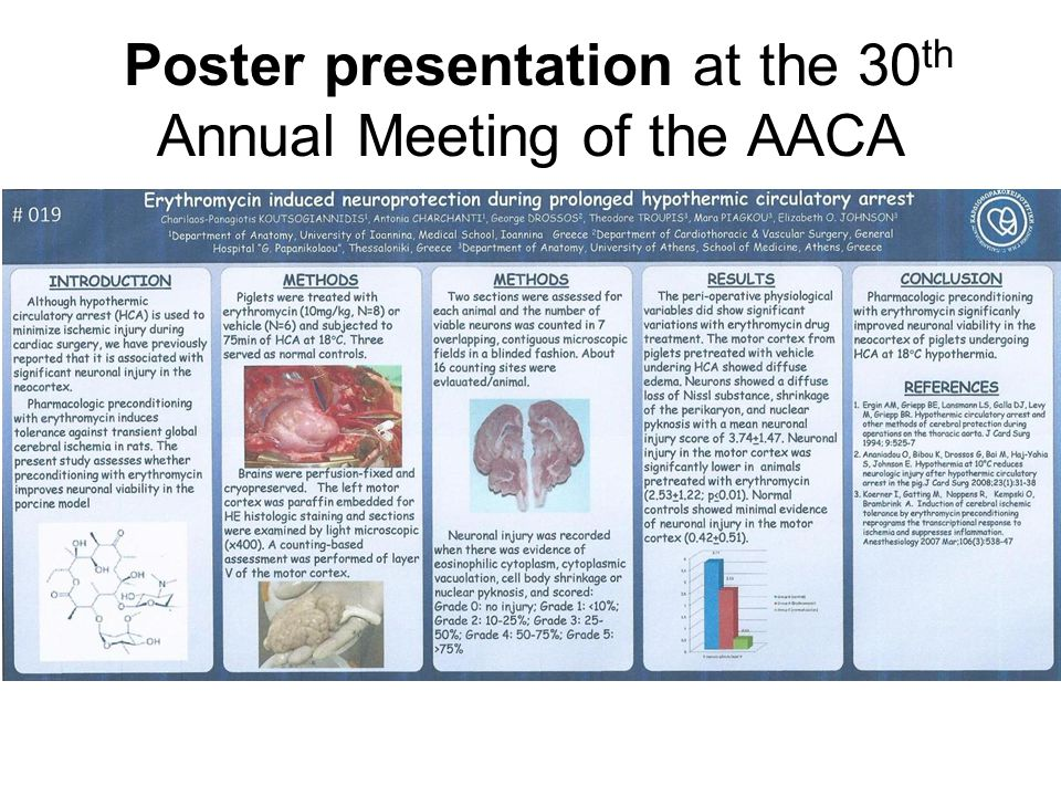 Poster presentation at the 30th Annual Meeting of the AACA