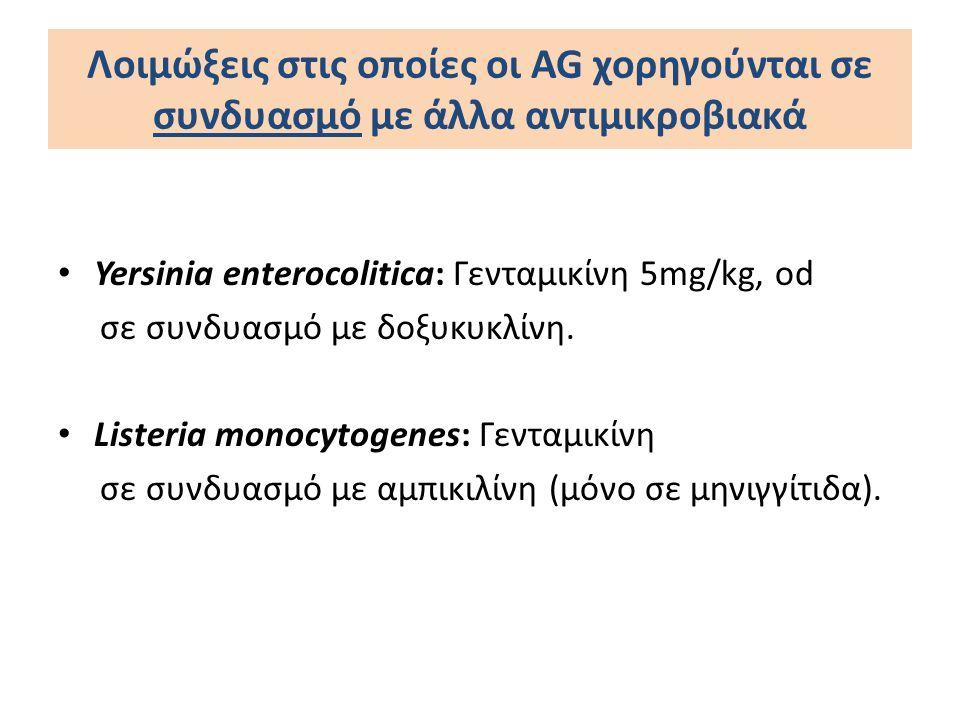 Λοιμώξεις στις οποίες οι AG χορηγούνται σε συνδυασμό με άλλα αντιμικροβιακά