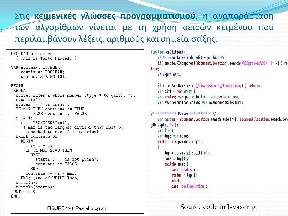 Στις κειμενικές γλώσσες προγραμματισμού, η αναπαράσταση των αλγορίθμων γίνεται με τη χρήση σειρών κειμένου που περιλαμβάνουν λέξεις, αριθμούς και σημεία στίξης.