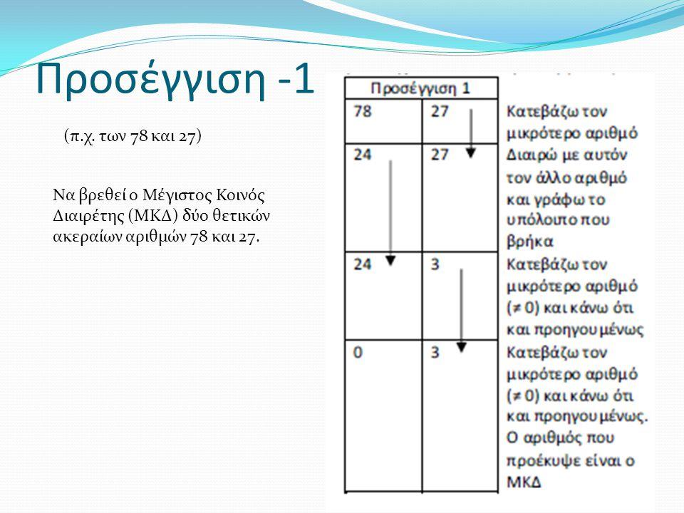 Προσέγγιση -1 (π.χ. των 78 και 27)