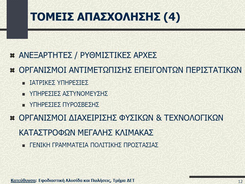 ΤΟΜΕΙΣ ΑΠΑΣΧΟΛΗΣΗΣ (4) ΑΝΕΞΑΡΤΗΤΕΣ / ΡΥΘΜΙΣΤΙΚΕΣ ΑΡΧΕΣ