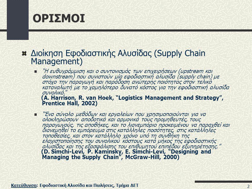 ΟΡΙΣΜΟΙ Διοίκηση Εφοδιαστικής Αλυσίδας (Supply Chain Management)