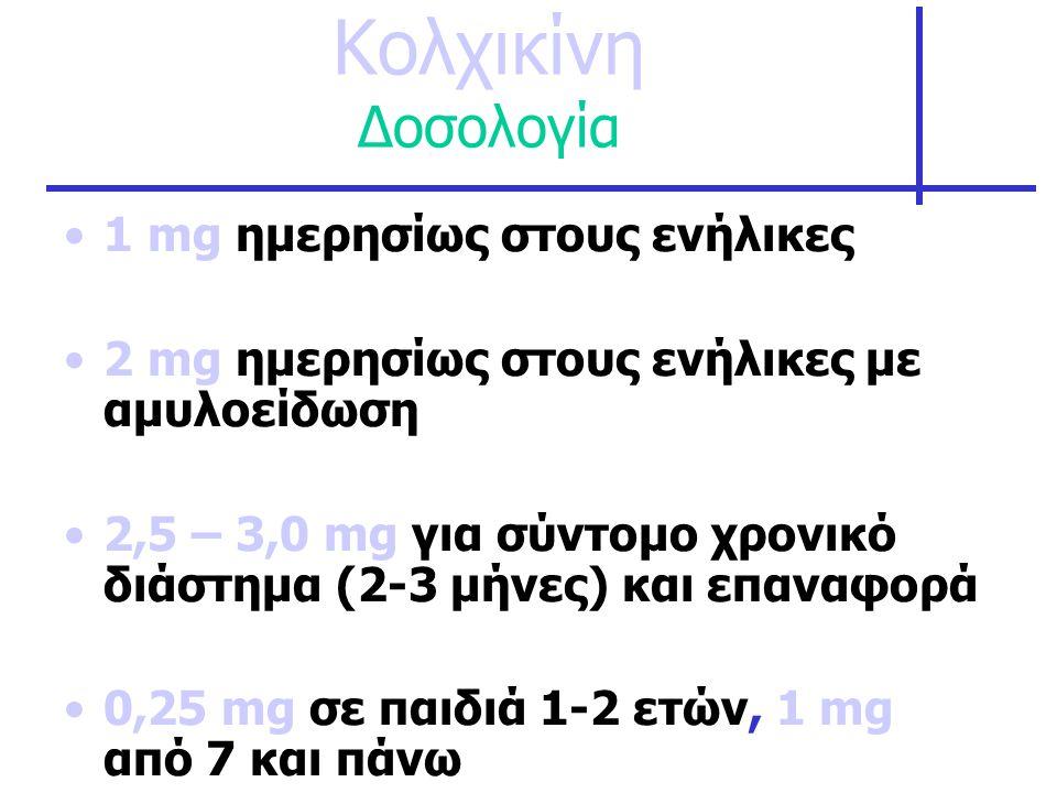Κολχικίνη Δοσολογία 1 mg ημερησίως στους ενήλικες
