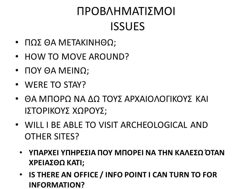 ΠΡΟΒΛΗΜΑΤΙΣΜΟΙ ISSUES