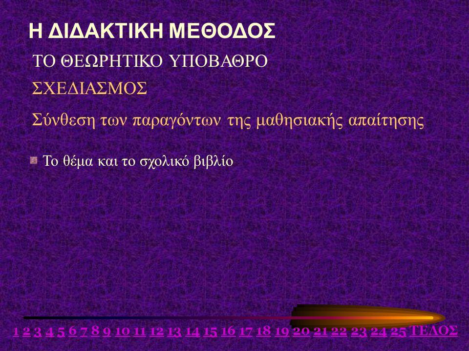 Η ΔΙΔΑΚΤΙΚΗ ΜΕΘΟΔΟΣ ΤΟ ΘΕΩΡΗΤΙΚΟ ΥΠΟΒΑΘΡΟ ΣΧΕΔΙΑΣΜΟΣ