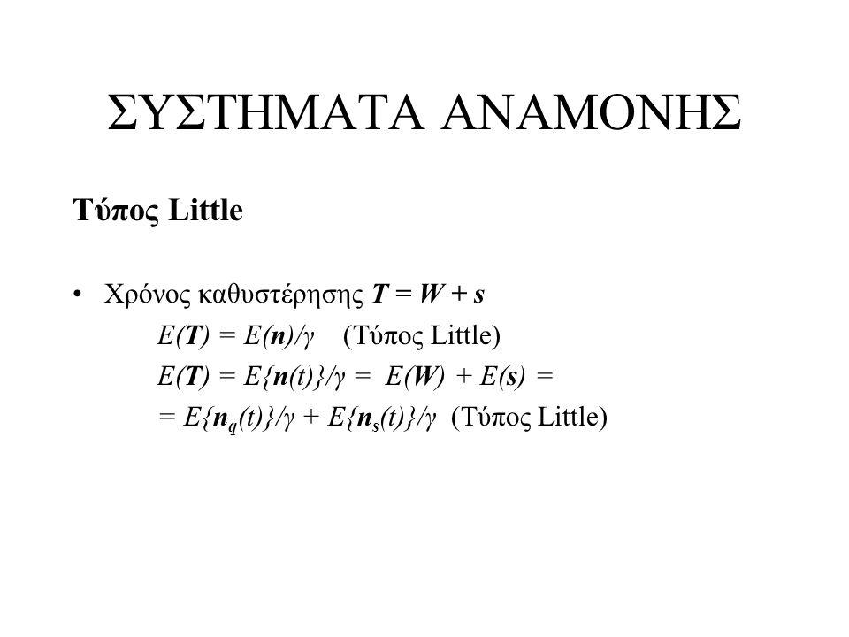 ΣΥΣΤΗΜΑΤΑ ΑΝΑΜΟΝΗΣ Τύπος Little Χρόνος καθυστέρησης Τ = W + s