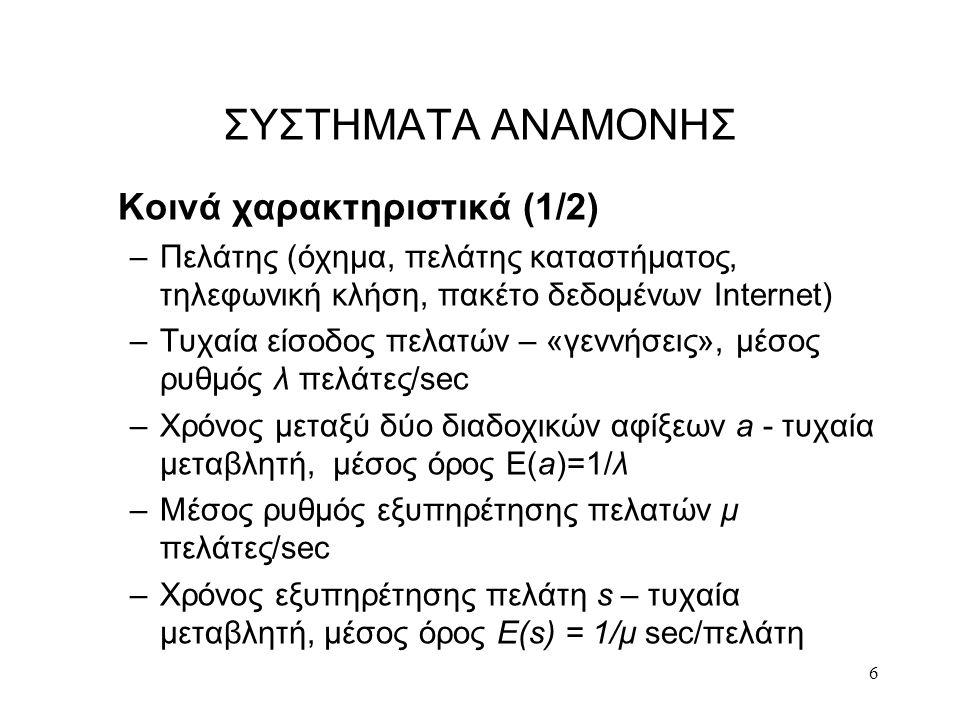 ΣΥΣΤΗΜΑΤΑ ΑΝΑΜΟΝΗΣ Κοινά χαρακτηριστικά (1/2)