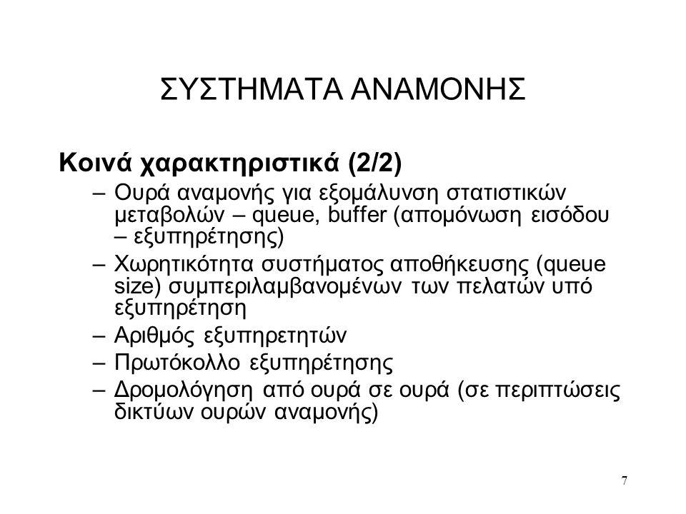 ΣΥΣΤΗΜΑΤΑ ΑΝΑΜΟΝΗΣ Κοινά χαρακτηριστικά (2/2)