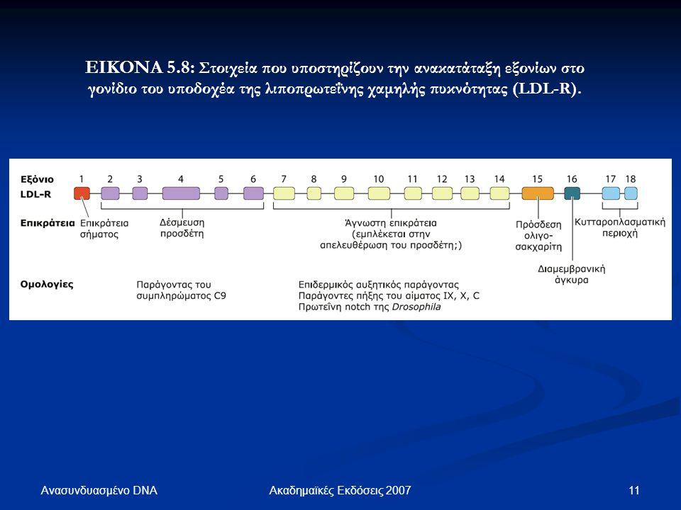 ΕΙΚΟΝΑ 5.8: Στοιχεία που υποστηρίζουν την ανακατάταξη εξονίων στο γονίδιο του υποδοχέα της λιποπρωτεΐνης χαμηλής πυκνότητας (LDL-R).