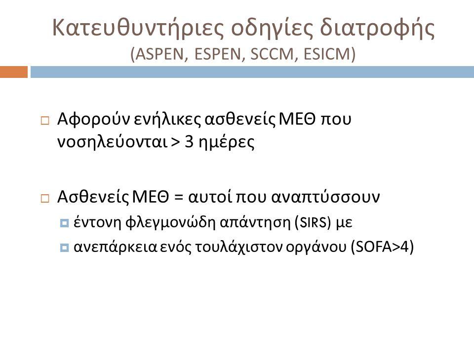 Κατευθυντήριες οδηγίες διατροφής (ASPEN, ESPEN, SCCM, ESICM)