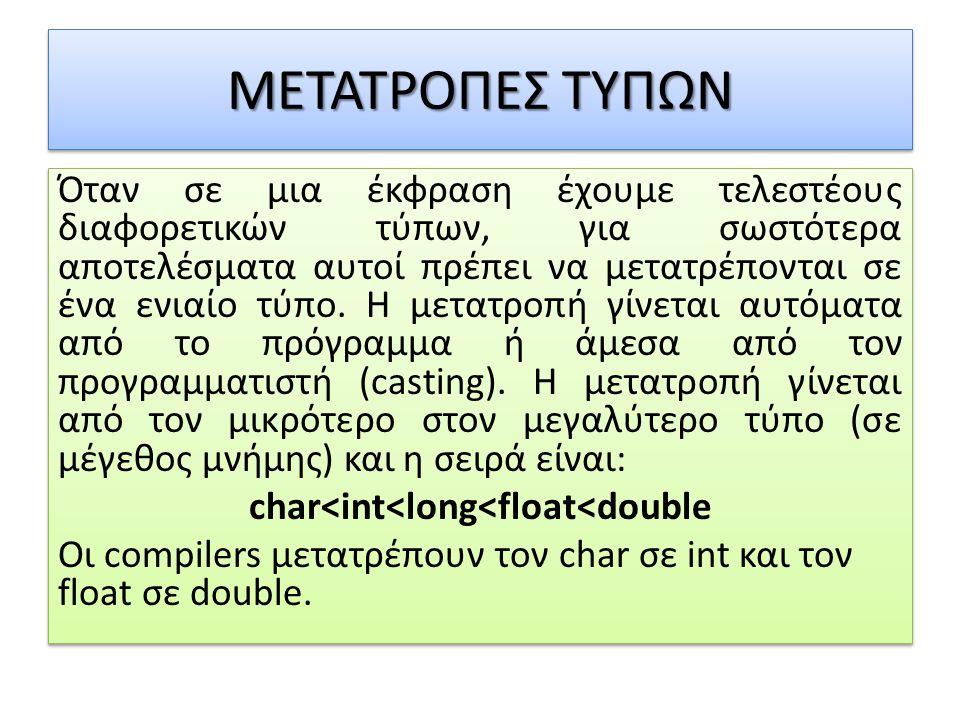 ΜΕΤΑΤΡΟΠΕΣ ΤΥΠΩΝ