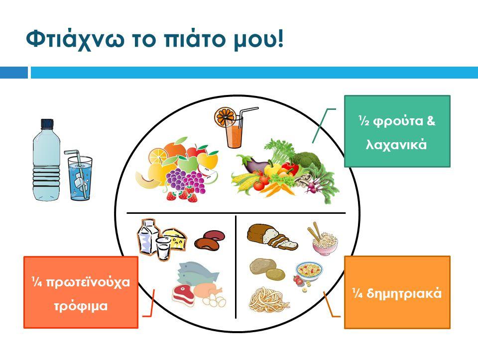 Φτιάχνω το πιάτο μου! ½ φρούτα & λαχανικά ¼ πρωτεϊνούχα τρόφιμα