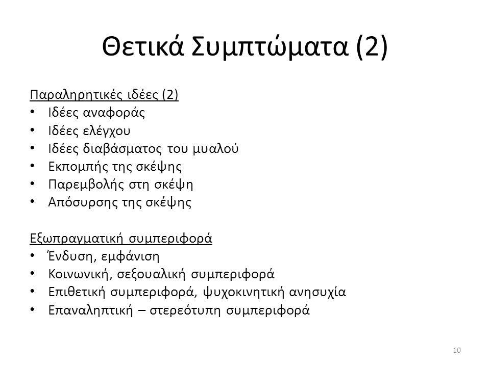 Θετικά Συμπτώματα (2) Παραληρητικές ιδέες (2) Ιδέες αναφοράς
