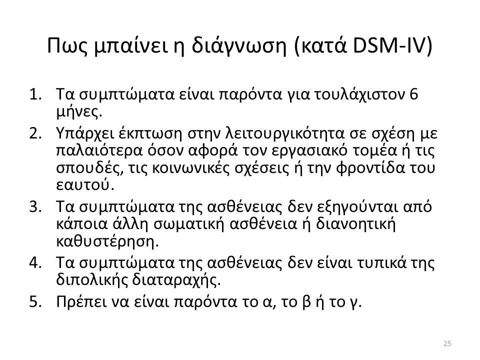 Πως μπαίνει η διάγνωση (κατά DSM-IV)