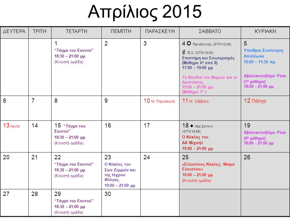 Απρίλιος 2015 ¢ Έ.Σ. (GTM 13:00) 1 2 3 4 О Πανσέληνος (GTM 12:06) 5 6