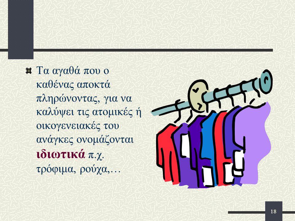 Τα αγαθά που ο καθένας αποκτά πληρώνοντας, για να καλύψει τις ατομικές ή οικογενειακές του ανάγκες ονομάζονται ιδιωτικά π.χ.