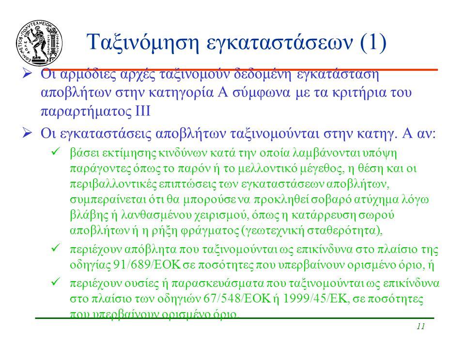 Ταξινόμηση εγκαταστάσεων (1)