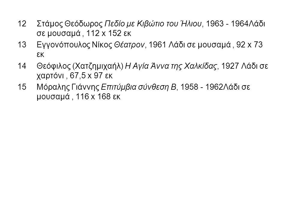 Στάμος Θεόδωρος Πεδίο με Κιβώτιο του Ήλιου, 1963 - 1964Λάδι σε μουσαμά , 112 x 152 εκ