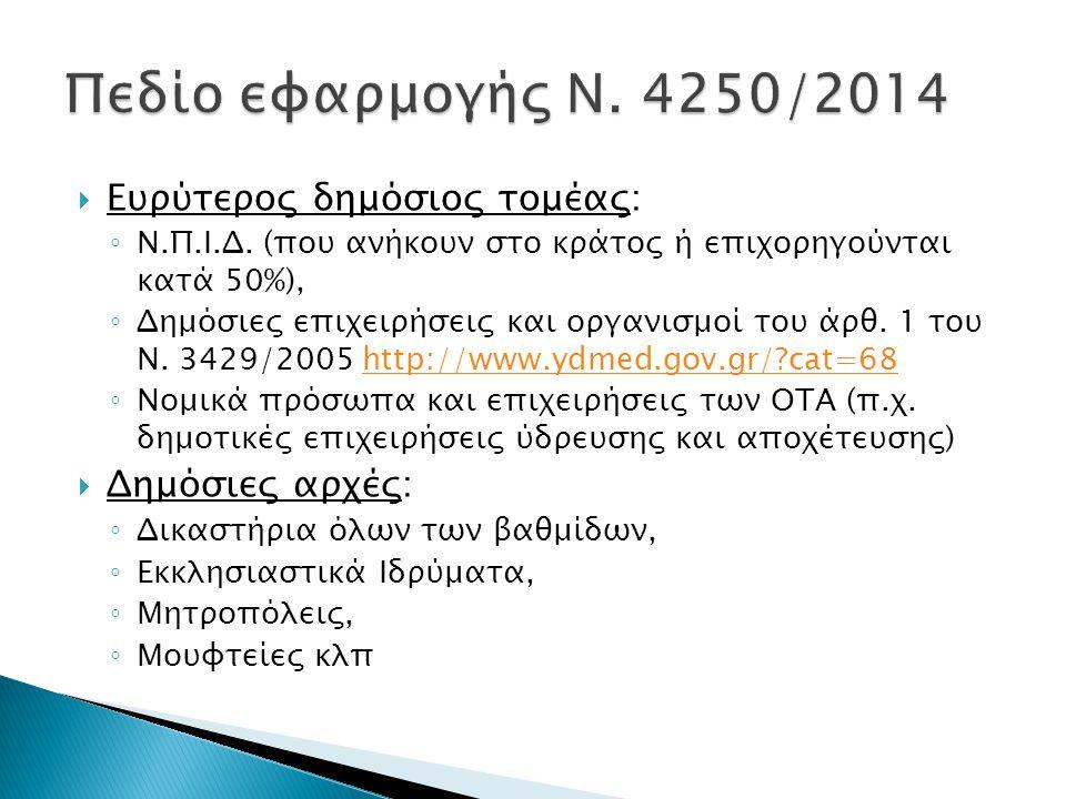 Πεδίο εφαρμογής Ν. 4250/2014 Ευρύτερος δημόσιος τομέας: