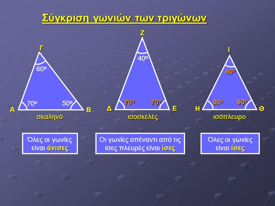Σύγκριση γωνιών των τριγώνων