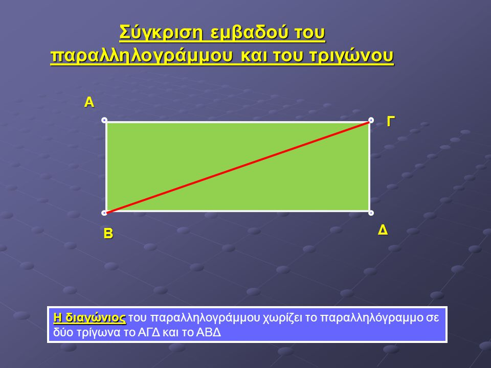 Σύγκριση εμβαδού του παραλληλογράμμου και του τριγώνου
