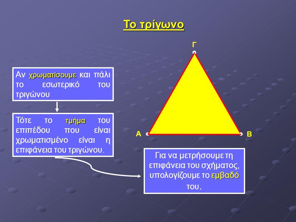 Το τρίγωνο Αν χρωματίσουμε και πάλι το εσωτερικό του τριγώνου