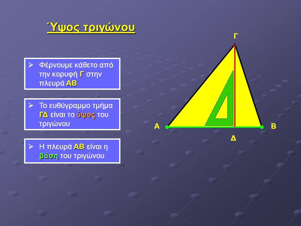 Ύψος τριγώνου Γ Γ Φέρνουμε κάθετο από την κορυφή Γ στην πλευρά ΑΒ
