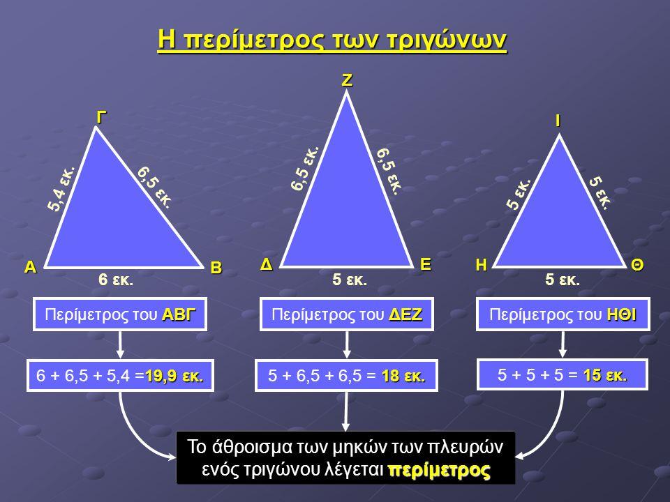 Η περίμετρος των τριγώνων