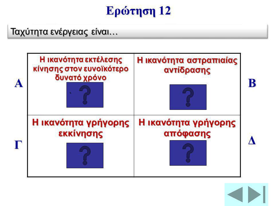 Ερώτηση 12 Α Β Δ Γ Ταχύτητα ενέργειας είναι…