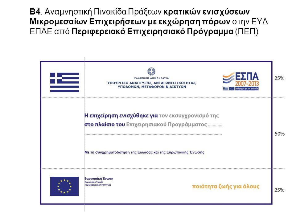 Β4. Αναμνηστική Πινακίδα Πράξεων κρατικών ενισχύσεων Μικρομεσαίων Επιχειρήσεων με εκχώρηση πόρων στην ΕΥΔ ΕΠΑΕ από Περιφερειακό Επιχειρησιακό Πρόγραμμα (ΠΕΠ)