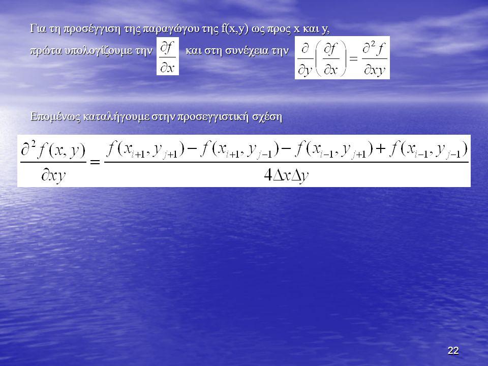 Για τη προσέγγιση της παραγώγου της f(x,y) ως προς x και y,