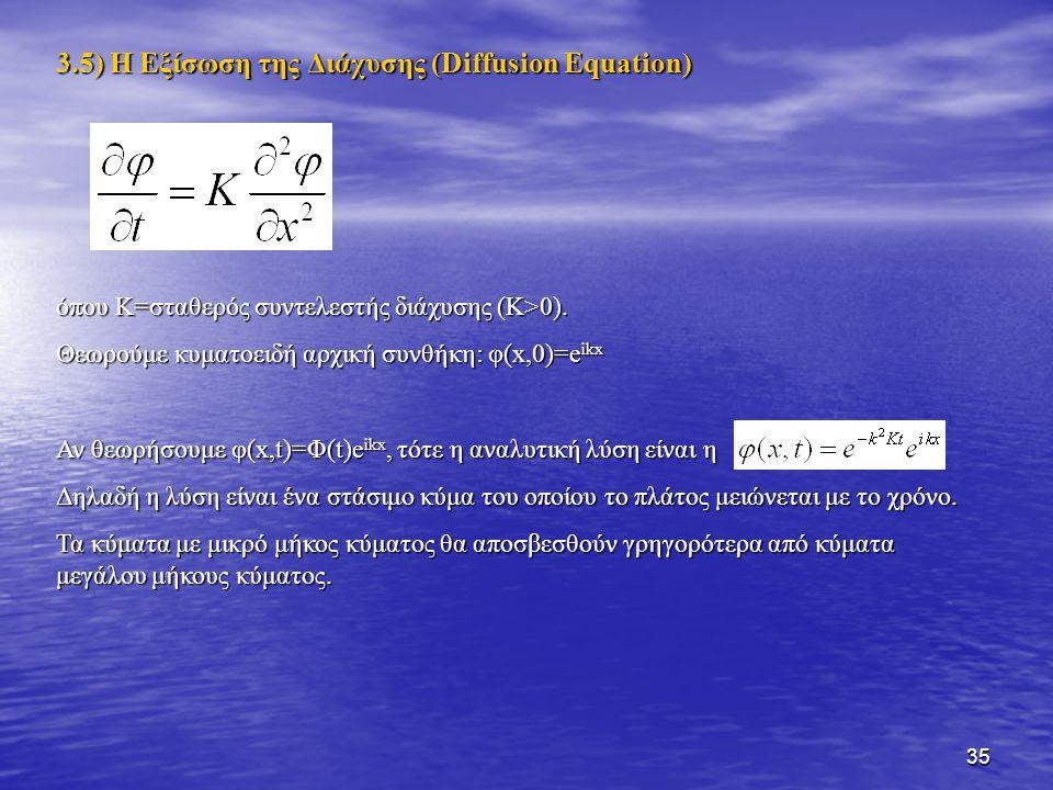 3.5) Η Εξίσωση της Διάχυσης (Diffusion Equation)