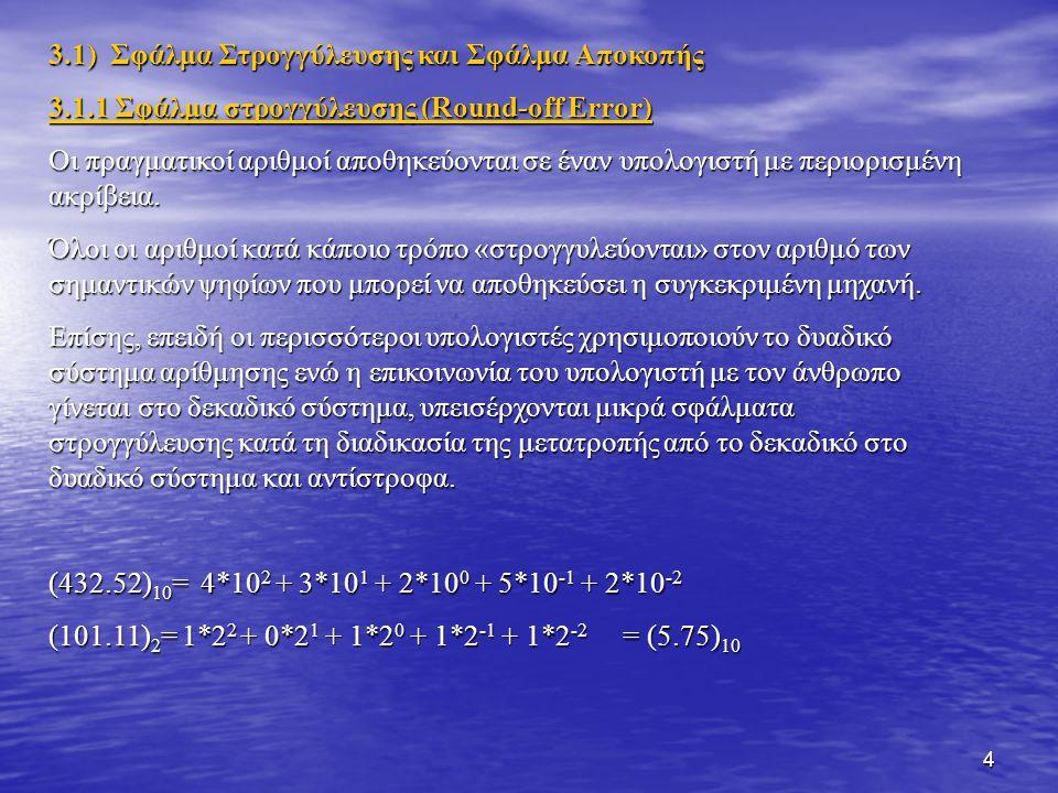 3.1) Σφάλμα Στρογγύλευσης και Σφάλμα Αποκοπής