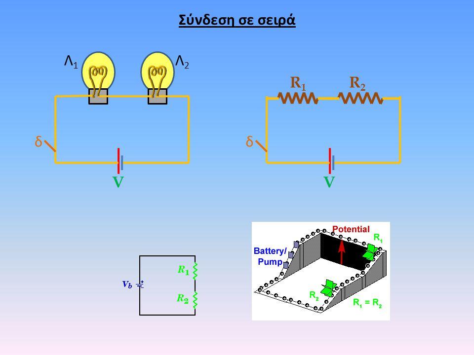 Σύνδεση σε σειρά Λ1 Λ2 R1 R2 δ δ V V