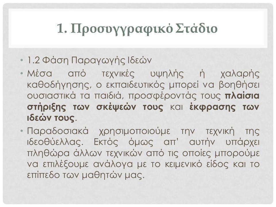 1. Προσυγγραφικό Στάδιο 1.2 Φάση Παραγωγής Ιδεών