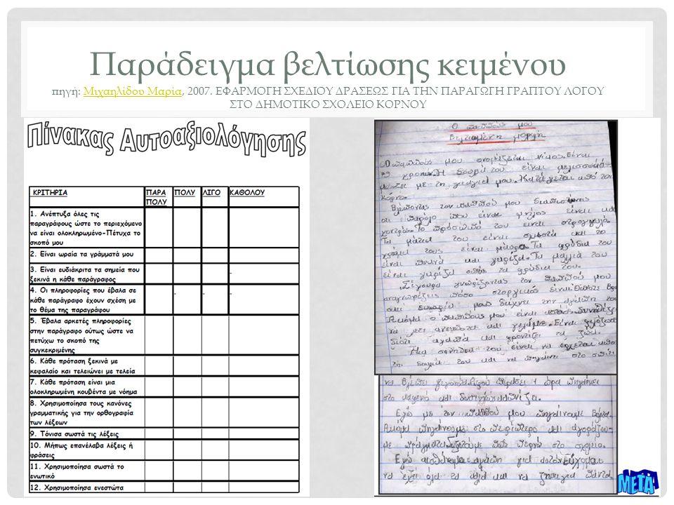 Παράδειγμα βελτίωσης κειμένου πηγή: Μιχαηλίδου Μαρία, 2007