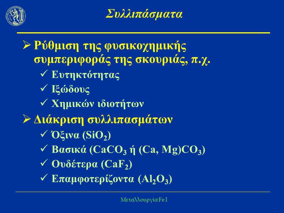 Ρύθμιση της φυσικοχημικής συμπεριφοράς της σκουριάς, π.χ.