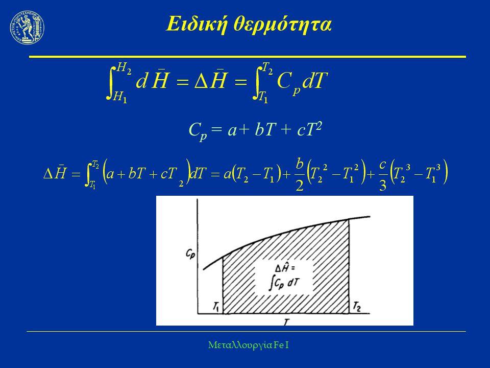 Ειδική θερμότητα Cp = a+ bΤ + cT2 Μεταλλουργία Fe I