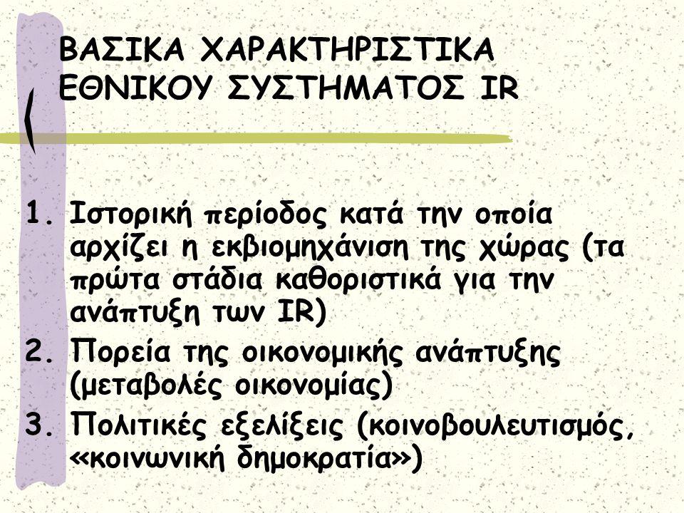 ΒΑΣΙΚΑ ΧΑΡΑΚΤΗΡΙΣΤΙΚΑ ΕΘΝΙΚΟΥ ΣΥΣΤΗΜΑΤΟΣ IR