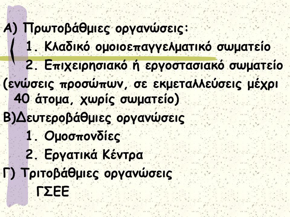 Α) Πρωτοβάθμιες οργανώσεις: