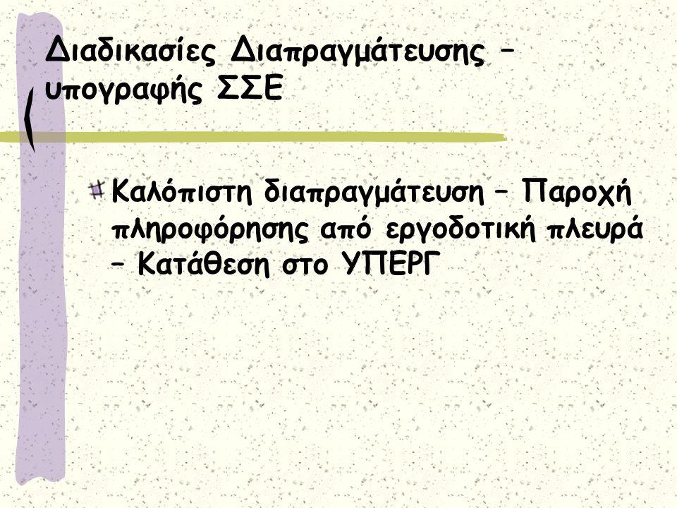 Διαδικασίες Διαπραγμάτευσης – υπογραφής ΣΣΕ