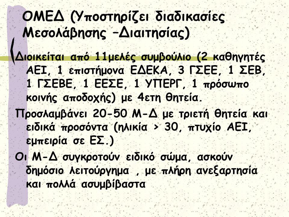 ΟΜΕΔ (Υποστηρίζει διαδικασίες Μεσολάβησης –Διαιτησίας)