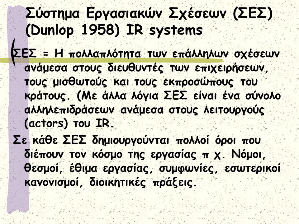 Σύστημα Εργασιακών Σχέσεων (ΣΕΣ) (Dunlop 1958) ΙR systems