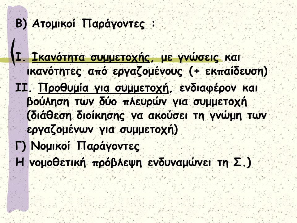 Β) Ατομικοί Παράγοντες :